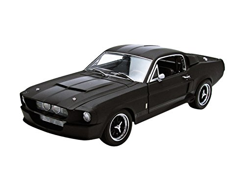 1967 Ford Shelby Mustang GT 500 Matt Black with Gloss Black Stripes 1/18 by - GreenLight 50844