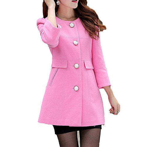 Ouchi Women Autumn Wool Blend Collarless Solid Fitted Elegant Outwear Coat Pink