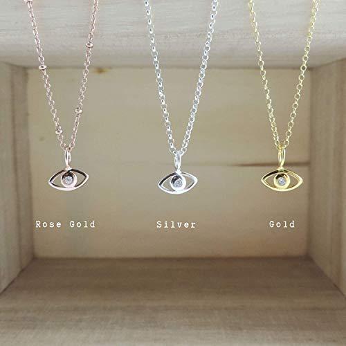 Evil Eye Necklace Dainty Necklace Minimal Evil Eye CZ Necklace Blue Evil Eye Pink Evil Eye Good Luck Charm Nazar