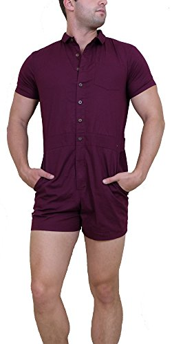 Men's One-Piece Male Romper (X-Large, Maroon)