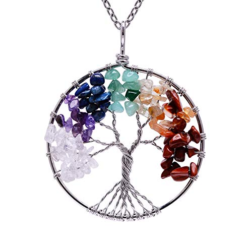 Root Chakra Gemstone Family Tree of Life Rainbow Tumbled Natural Stone Necklace for Womens Handmade Healing Raw Stone Wire Wrapped Amethyst Birstone Point Crystal Pendant Necklace for Mother Gift