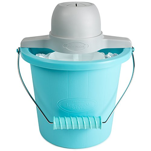 (Nostalgia ICMP400BLUE 4-Quart Electric Ice Cream Maker with Easy Carry Handle)