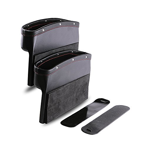 Car Seat Pockets PU Leather Car Console Side Organizer Seat Gap Filler Catch Caddy with Non-Slip Mat 9.2x6.5x2.1 inch Black(2 Pack) - Pocket Slide Front