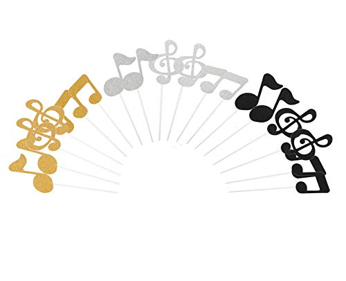 Lauren 18 Pcs Musical Notes Cupcake Toppers Cake Decorating Tools for Party Gold Silver and Black for $<!--$6.59-->