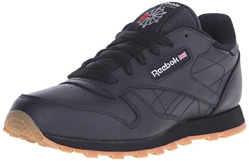 Reebok Kid's Classic Leather Shoe, Black/Gum 7 M US Littl...