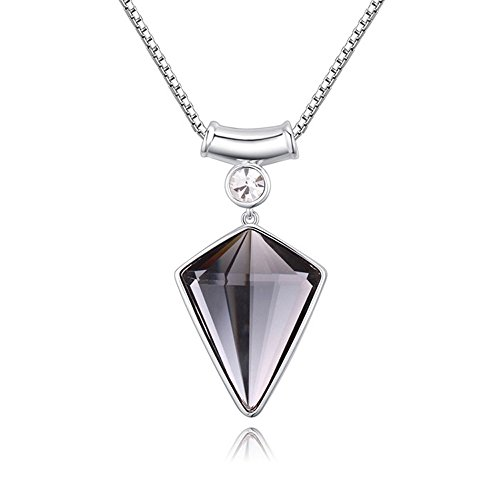 The Starry Night 18K Shining Geometric Choker Style Triangle Shape Black Crystal Pendant Necklace with Box - Dangling Wood Tube Pink