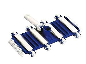 Carro limpiafondos 6195 para piscina flexible 8 ruedas conexión para manguera D.38. Conexión para pértiga con clip.