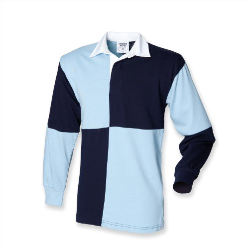 Front Row Quartered Rugby Shirt - White/ Navy (White collar) - L