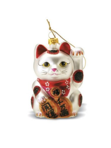 Amazon.com: Hawaiian Maneki Neko (Lucky Cat) Glass Ornament With ...