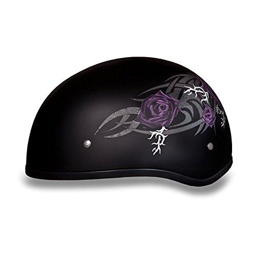 Purple Roses with Grey Tribal Designed DOT Half Helmet