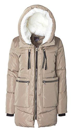 Sportoli Women Fashion Winter Side Zip Lined Puffer Parka Coat Sherpa Lined Hood - Sand (Size Medium)