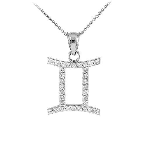Collier Femme Pendentif 14 Ct Or Blanc Gémeaux Zodiaque Signe Diamant (Livré avec une 45cm Chaîne)