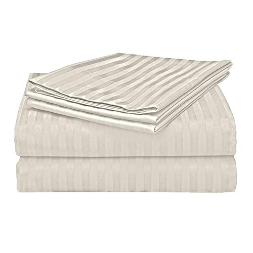 Bed Bath Fashions 500 Thread Count 100% Egyptian Quality Cotton Stripe Bed Sheet Set, 4 Piece Set, Long-Staple Combed Pure Cotton Bed Sheets, Soft Sateen Weave (King, Ivory)
