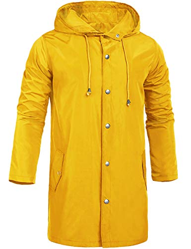 ZEGOLO Men's Waterproof Rain Coats Long with Hooded Lightweight Breathable Rain Trench Shell Jacket for Men Adults Yellow XX-Large