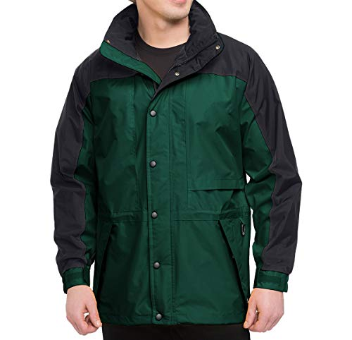 (Premium Quality Men's 100% Toughlan Nylon Parka Climax Jacket - Forest Green/Black, XL)