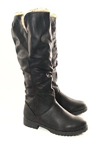 Damen Winter Boots Stiefel warm gefüttert Schwarz # 682