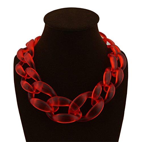 Red Transparent Necklace (Jewelrydress Women Fashion Acrylic Twist Collar Chunky Choker Statement Chain Necklace (Transparent Red))