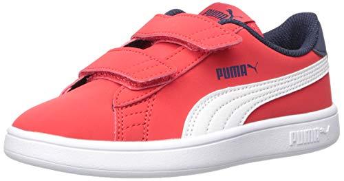 PUMA Unisex Kid's Smash V2 Velcro Sneaker, highriskred-whitepeacoat, 12 M US Little Kid