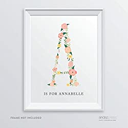 Andaz Press Personalized Monogram Wall Art Print Poster, Coral Floral Roses Collection, A is for Annabelle, 1-Pack, Custom Made Any Name, For Kids Room, Nursery, Wedding, Baby Shower, Christmas Gifts