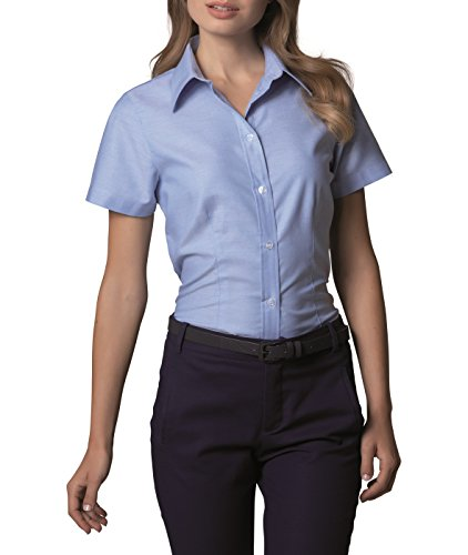 Kustom Kit- Camisa Oxford de manga corta de trabajo para mujer Azul claro