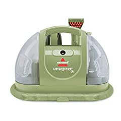 Bissell Little Green Multi-Purpose Compact Deep CleanerStrong spray and suction contains at least 50% recycled plastic. 3 inch stain tool helps you scrub stains away.Dimensions:13.8 pounds Check for suction at the back of the unit after remov...