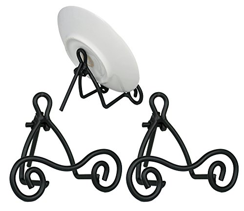 Decorative Black Scroll Stand (Black Metal Easel - Set of 3 - Wrought Iron - Display Plate Stand - Swirling Spiral Scroll - 3 Inch High)