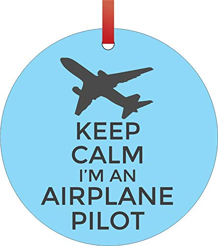 Jacks Outlet Keep Calm I'm an Airplane Pilot Job Profession Appreciation Gift - Round Shaped Flat Aluminum Semigloss Christmas Ornament Tree Decoration - Novelty Tree Décor Favors