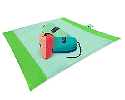 Yes4All Waterproof Beach Blanket with 4 Stakes & Carry Bag (106 x 82 inch)