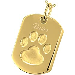 Oversized Gold-Plated Sterling Silver Paw Print Ash-Holding Dog Tag (Engraved)