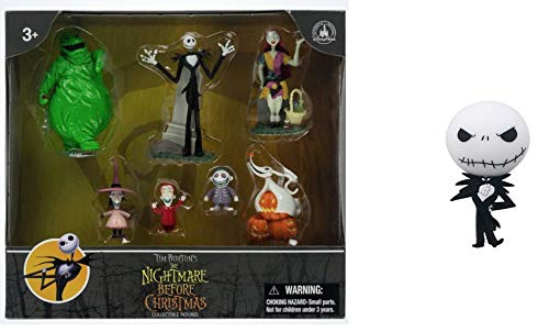 Theme Park Jack Skellington Nightmare Before Christmas 7 Pc. Cake Toppers / Playset / Decorations with Jack -