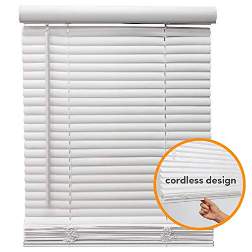 Cordless Venetian Window Blinds Horizontal 1″ Slats Privacy Shade Anti-UV White – 37″ W x 64″ H
