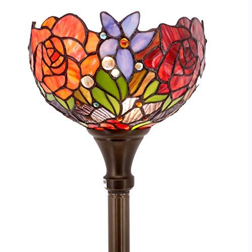 Tiffany Style Torchieres Floor Lamp Table Desk Standing Lighting Wide 10 Tall 66 Inch Stained Glass Red Rose Design Lampshade for Living Room Bedroom Antique Set S001 WERFACTORY ()