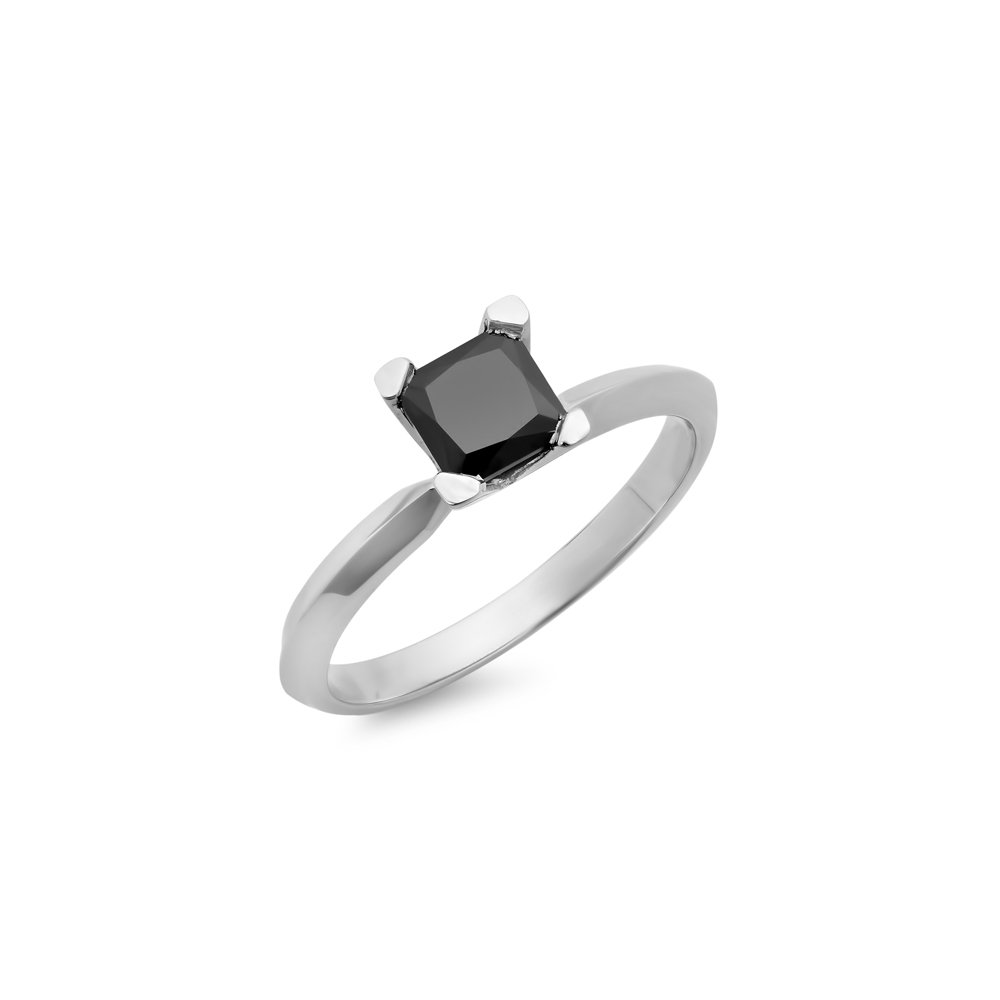 0.25 Carat (ctw) 14K White Gold Black Diamond Solitaire Bridal Engagement Ring 1/4 CT (Size 8.5)