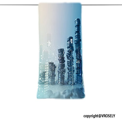 Soft and Comfortable Beach Towel-double exposure of city and rows of coins for finance and banking concept Design Hand Towel Bath Towels For Home Outdoor Travel Use 11.7