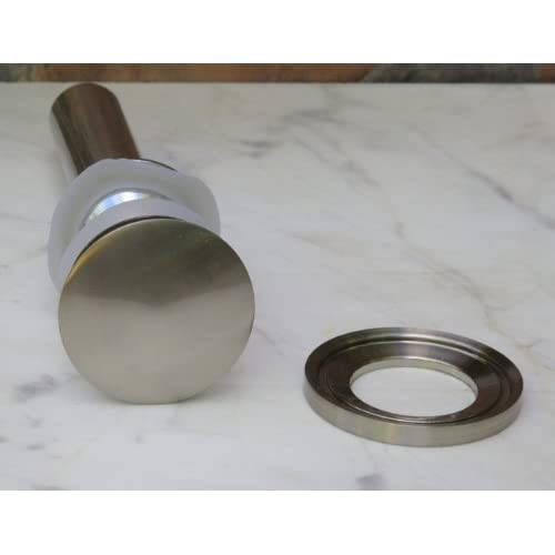 new Bathroom frosted Glass Vessel Sink & Brushed nickel Faucet Combo & brushed nickel Pop Up Drain Mounting Ring (R12FN1)