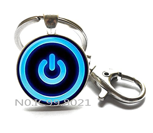 - Button Power Keychain Button Power jewelry Button Power Key Ring neon computer glass Cabochon Keychain.XT008 (A)