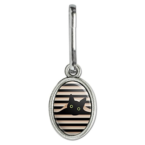 Graphics and More Black Cat In Window Antiqued Oval Charm Clothes Purse Suitcase Backpack Zipper Pull Aid -