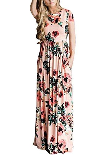 Fasumava La Femme Tunique Robe Printemps - Automne Maxi - Robes en Coton Fleuri Occasionnels Rose