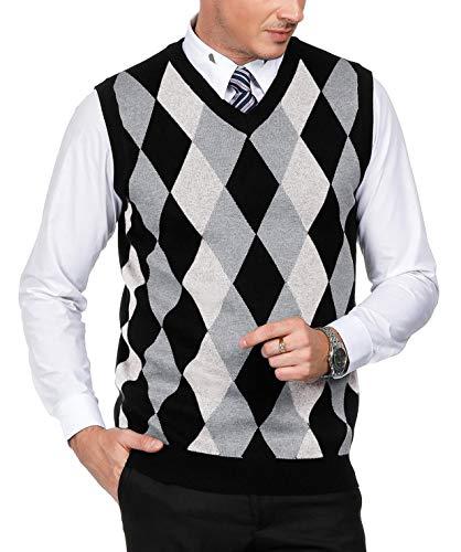 Men's Classic V-Neck Argyle Sweater Vest Lightweight Pullover Vest Size S White