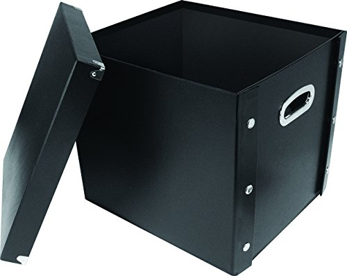 Snap-N-Store SNS01790 Vinyl Record Storage Case with Lid, Holds up to 75 Records, 13.2 x 14.5 x 2 Inches, Black