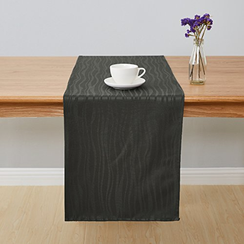 Price comparison product image Deconovo Jacquard Damask Table Runner Wrinkle and Water Resistant Spill-Proof Decorative Dining and Wedding Runners Vibrant Waves 14 x 72 inch Grey