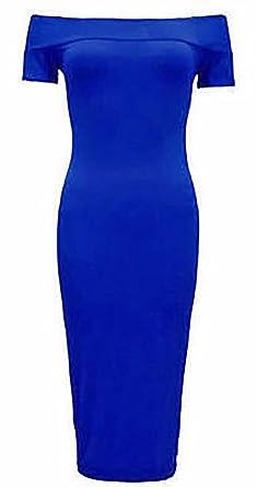 9ee3ba9d0c525 Womens Ladies Plus Size Off Shoulder Bardot Midi Stretch Bodycon Dress  Frill Party Dress 8-24 (UK S/M 8-10, Plain Bardot Blue): Amazon.co.uk:  Clothing