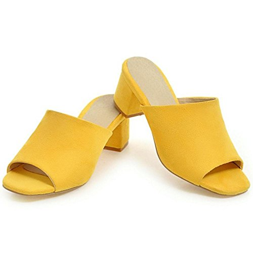 Femmes TAOFFEN Toe Peep Yellow Mules YqUdHqx