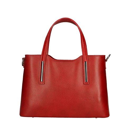 à 31x21x11 Rouge pour main Handbag Sac Italy Cm Femme véritable cuir in en Made Aren 6I7FExqx