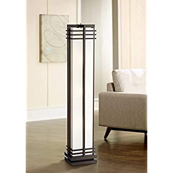 Amazon Com Asian Floor Lamp With Torchiere Light Deep Coffee Wood Column White Linen Shade For