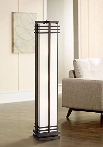 Art Deco Floor Lamp Espresso Wood Beige Linen Column Shade Standing Light for Living Room Bedroom Office - Possini Euro Design