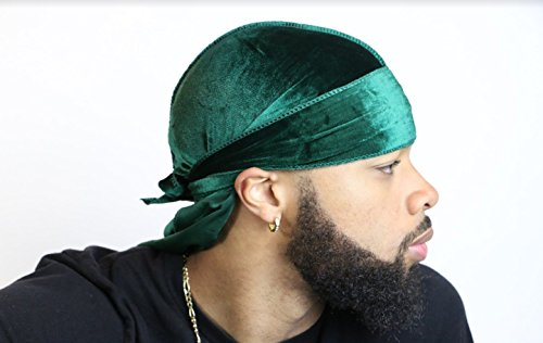 Velvet Durag 360, 540, and 720 Waves Extra Long and Wide Straps Limited Edition Red Green Purple Blue Yellow (Green)
