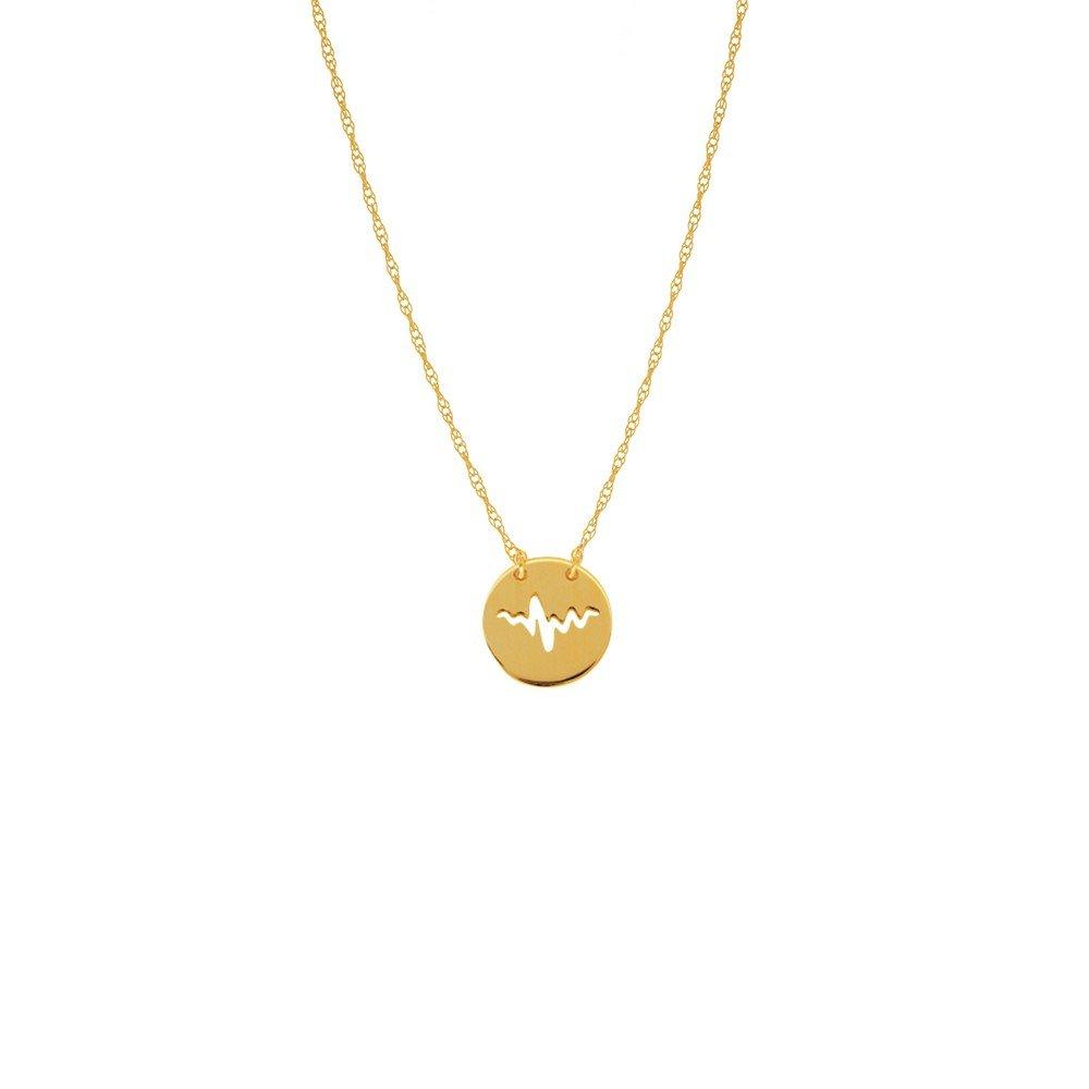 14ct Or jaune Mini Disc Découpe Heartbeat Collier Anneau à ressort en corde–46centimetres JewelryWeb MIP350479Y