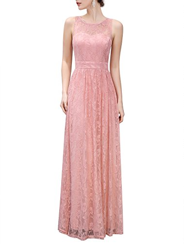 Wedtrend Women's Long Floral Lace Dress Sleeveless Semi-Formal Dress WTL10007PinkS