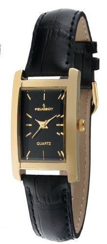 Peugeot Women's Classy 14K Gold Plated H Rectangle Case Black Leather Band Dress Watch 3007BK - Leather Watch Brass Wrist